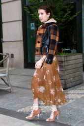 Emma Roberts Shows Off Her Style -  Out in Manhattan in Floral Dress and a Plaid Jacket 04/24/2017