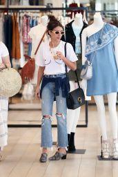 Emma Roberts Wears a Boob Shirt - Shopping at Rebecca Minkoff in LA 4/13/2017