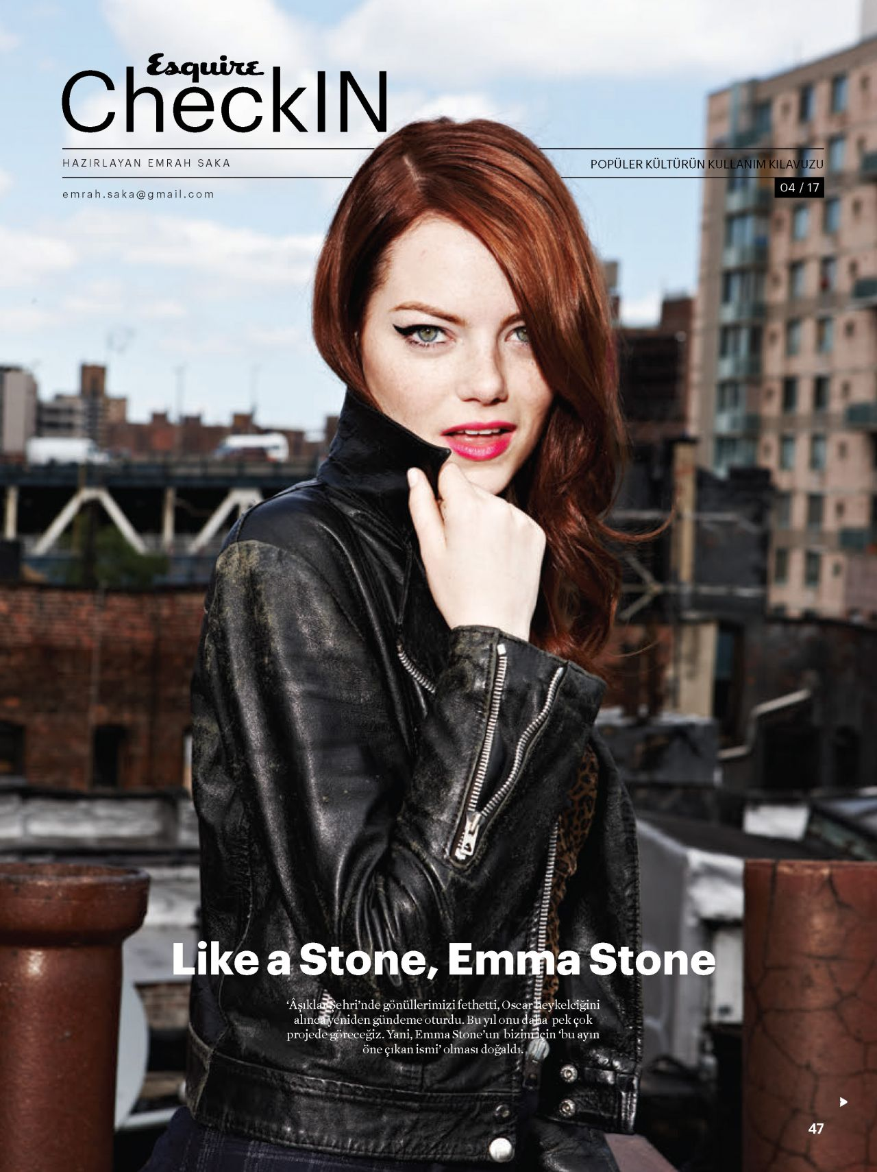 Emma Stone - Esquire Magazine Turkey April 2017