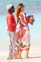 Heidi Klum in Bikini at the Beach on Turks & Caicos Islands 4/6/2017