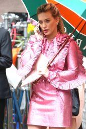 Hilary Duff in a Pink Ruffled Dress - New York 4/17/2017