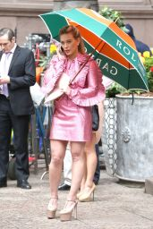 Hilary Duff in a Pink Ruffled Dress - New York 4/17/2017