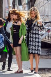 "Hilary Duff With Her Co-Star Molly Bernard - Filming For New Season of ""Younger"" TV in NYC 4/3/2017"