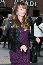 Jane Seymour Wears Leather Jacket at NBC