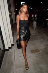Jasmine Tookes Wears Leather Skirt - Out to Dinner in West Hollywood 4/1/2017