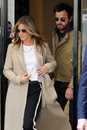 Jennifer Aniston and Justin Theroux - Leaving the Chanel Store in Paris 4/12/2017