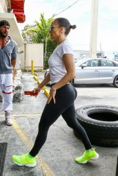 Jennifer Lopez Booty in Tights - Arrives at Gym in Miami 4/22/2017