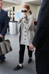 Jessica Chastain Camera Shy - LAX in Los Angeles 04/23/2017