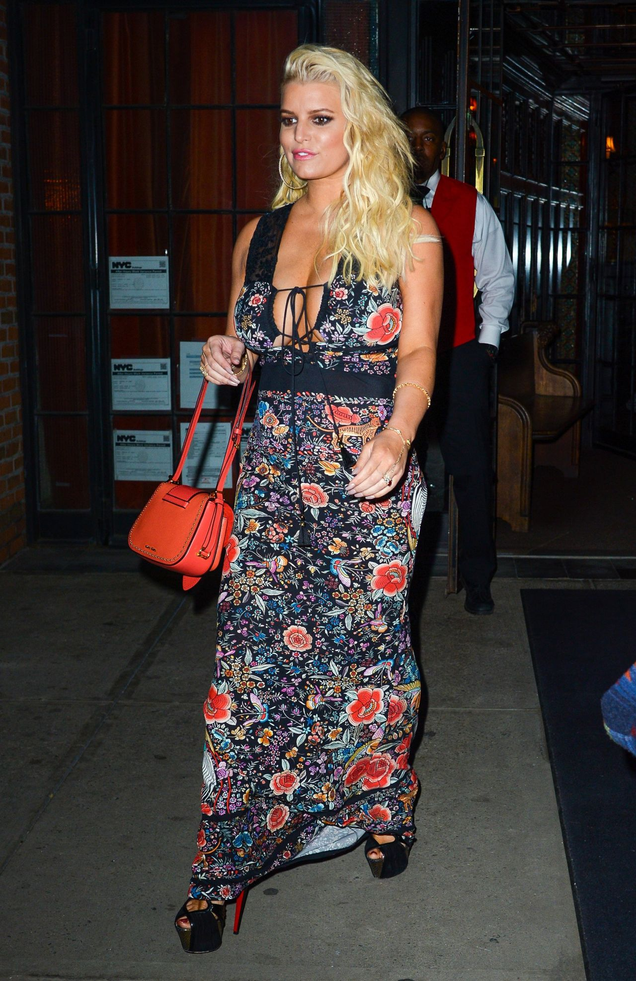 Jessica Simpson Night Out Style - Leaves at Restaurant in New York, April 2017