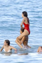 Kaia Gerber in Red Swimsuit at the Beach in St. Barts 4/8/2017