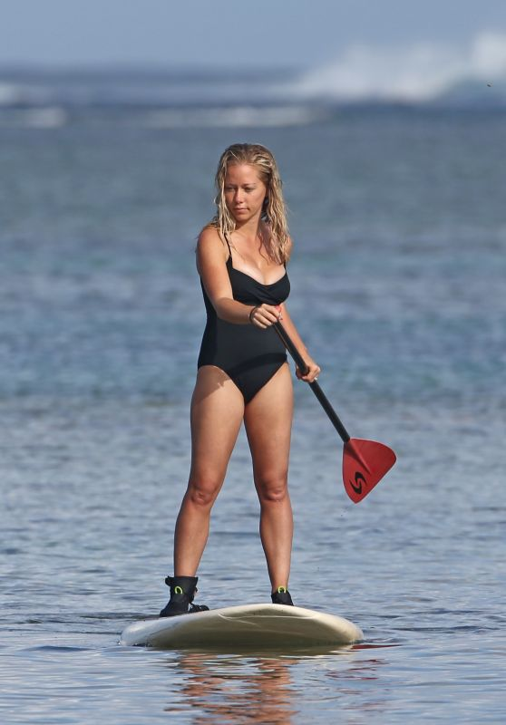 Kendra Wilkinson in Swimsuit - Paddle Boarding in Hawaii, April 2017