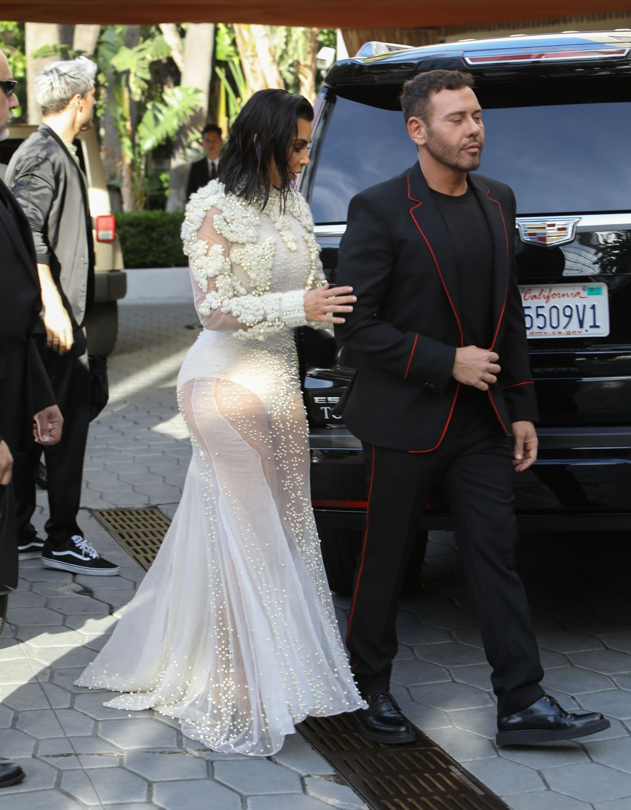 Kim Kardashian in Sheer Givenchy Gown - at Dinner With Mert Alas 4/2 ...