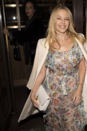 Kylie Minogue Night Out Style - Goes for Dinner in Central London 4/4/2017