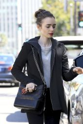 Lily Collins Casual Style - Beverly Hills 4/4/2017