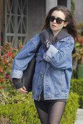 Lily Collins in Spandex - Visited a Salon in Beverly Hills 4/6/2017
