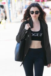 Lily Collins Shows Off Her Abs - Out in West Hollywood 04/29/2017