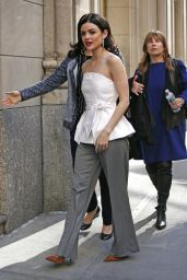 Lucy Hale Casual Chic Outfit - Times Square in New York City 4/18/2017