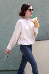 Lucy Hale in Casual Attire - Stops for an Iced Coffee in Studio City 4/7/2017
