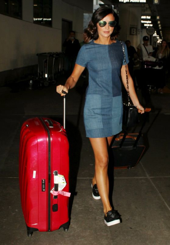 Lucy Mecklenburgh in Denim Dress - LAX 4/10/2017