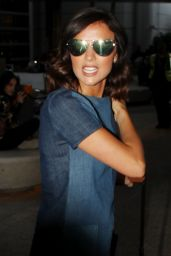 Lucy Mecklenburgh in Denim Dress - LAX 4/10/2017