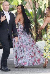 Mel B in a Ruffled Floral Print Maxi Dress - Los Angeles 4/7/2017