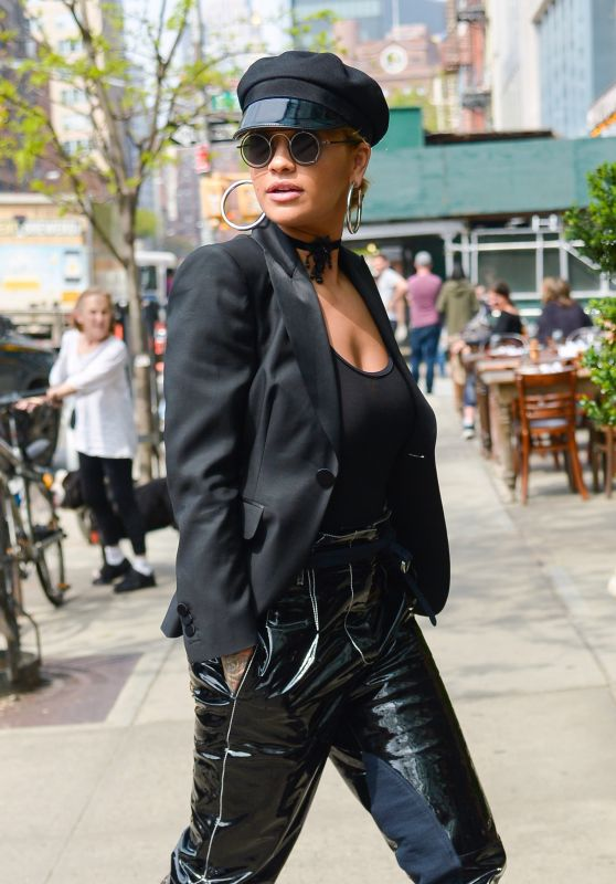 Rita Ora in an all Black Outfit  - Arriving For a Photoshoot in NY 04/27/2017