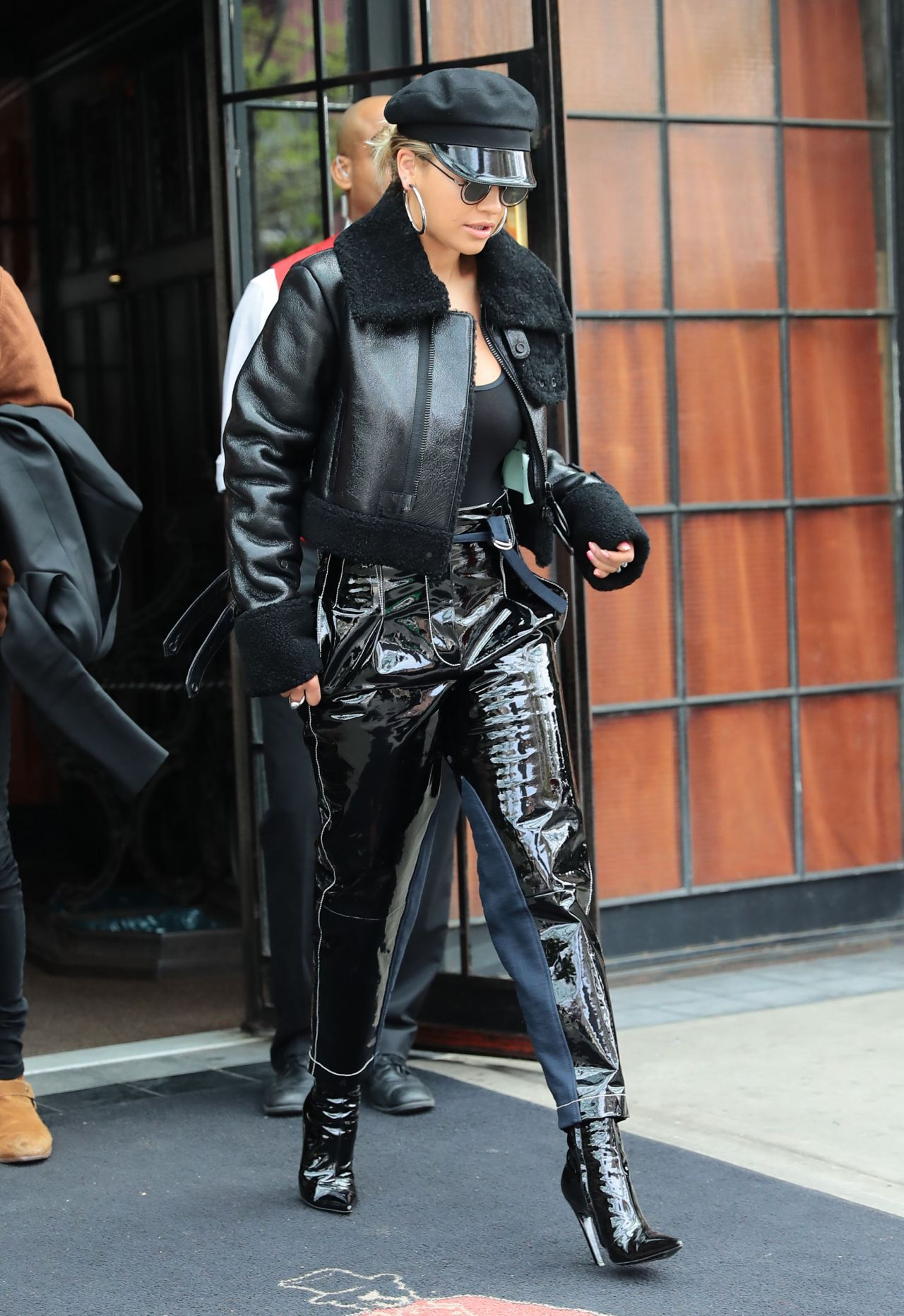 Rita Ora In An All Black Outfit Arriving For A