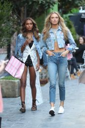 Romee Strijd & Jasmine Tookes Casual Chic Outfit - Film a press shoot for Victoria