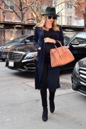 Rosie Huntington-Whiteley Showcases her Bump in Sheer Black Top - New York City 4/5/2017