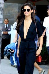 Sara Sampaio in Black Pant Suit - Leaving Lunch at Spago in Los Angeles 4/12/2017