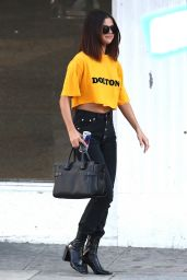 Selena Gomez Casual Chic Outfit - Leaving Shamrock Tattoo in Hollywood 4/9/2017