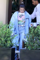 Selena Gomez Wearing Mom Jeans at Montage Hotel in Beverly Hills 04/28/2017