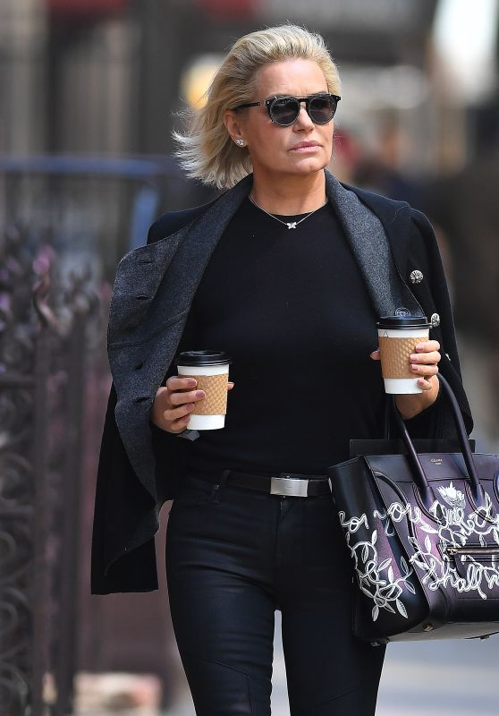 Yolanda Hadid Carrying a Celine Handbag in New York City 4/10/2017