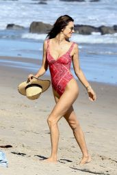 Alessandra Ambrosio in Swimsuit at the Beach in Malibu 05/30/2017