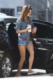 Alessandra Ambrosio Leggy in Jeans Shorts - Out in Brentwood 05/03/2017