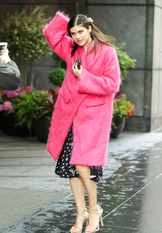 Alexandra Daddario in a Pink Fur Coat  - New York City 05/22/2017