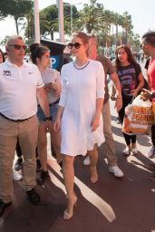 Barbara Palvin in White Dress in Cannes, France 05/24/2017