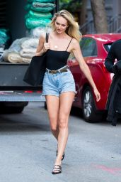 Candice Swanepoel Leggy in Jeans Shorts - Out in NYC 05/26/2017