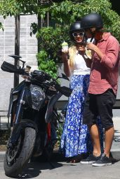 Candice Swanepoel With a Motorbike - Out in NYC, May 2017