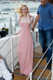Elle Fanning in Pink - Out in Cannes 05/19/2017