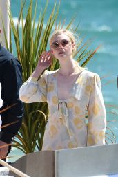 Elle Fanning - Photoshoot on the Beach in Cannes, France 05/18/2017