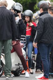 Emma Roberts - Films a Scene on a Scooter with Hayden Christensen in Toronto 05/30/2017