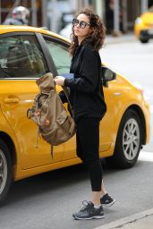 Emmy Rossum Street Style - Leaving a Cab in New York 05/24/2017