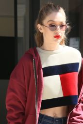 Gigi Hadid Looking Stylish in a Tommy Hilfiger Sweater, NYC 05/12/2017