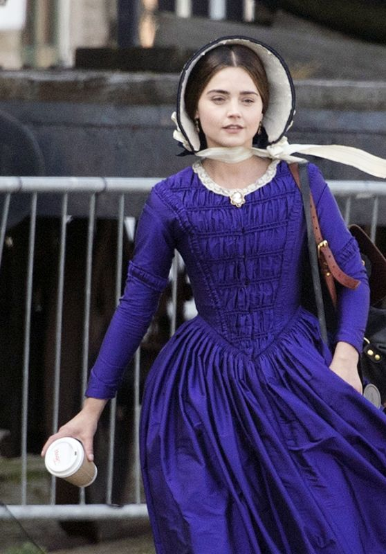 "Jenna Coleman Dressed in Character - Filming the ITV drama ""Victoria"" in Hartlepool 05/10/2017"