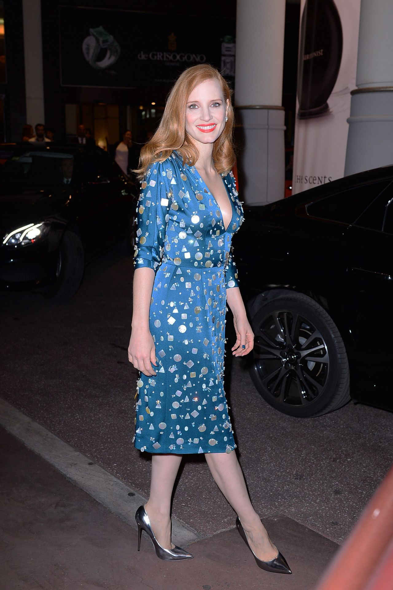 Jessica Chastain in a Blue Dress - Night Out in Cannes, France 05/22/2017