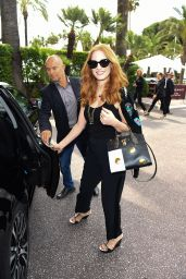Jessica Chastain Street Fashion -Leaving Martinez Hotel in Cannes 05/18/2017