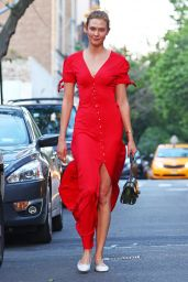 Karlie Kloss in a Bright Red Button Up Dress - New York City 05/17/2017