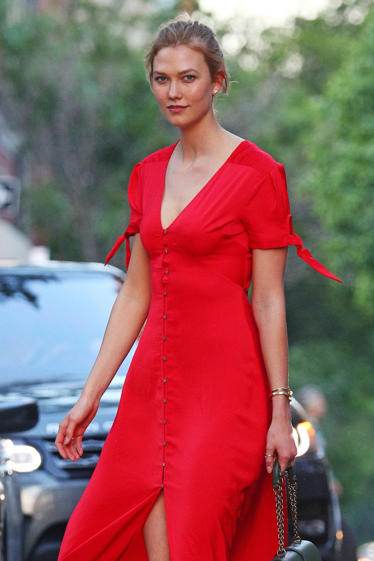 Karlie Kloss In A Bright Red Button Up Dress New York