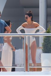 Kendall Jenner in White Swimsuit - Cannes, France 05/24/2017